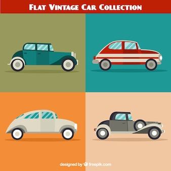Pack of four old cars in flat design