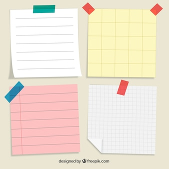 Pack of four paper notes to write messages