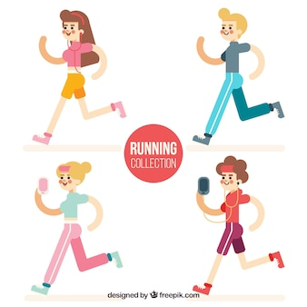 Pack of four people running in flat design