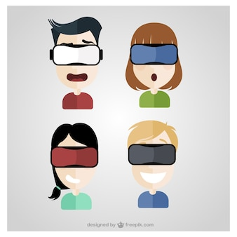 Pack of four people with virtual reality glasses