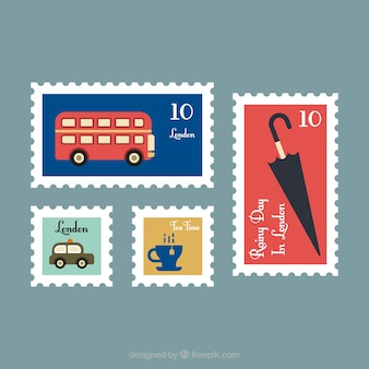 Pack of four post stamps with colored items