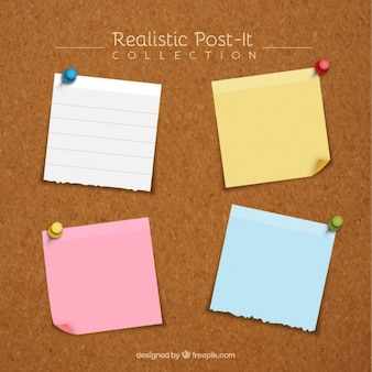Pack of four realistic adhesive notes with thumbtacks