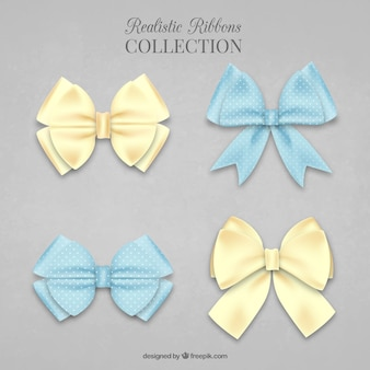 Pack of four realistic bows in pastel color