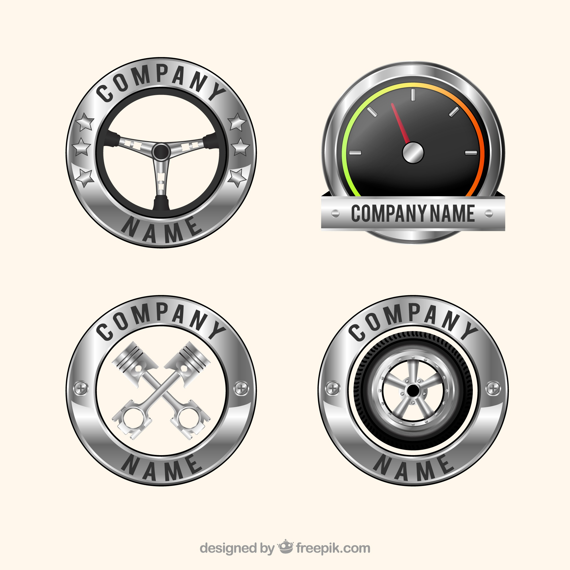 Pack of four realistic car logos