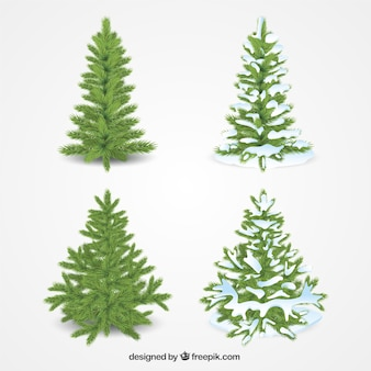 Pack of four realistic christmas trees