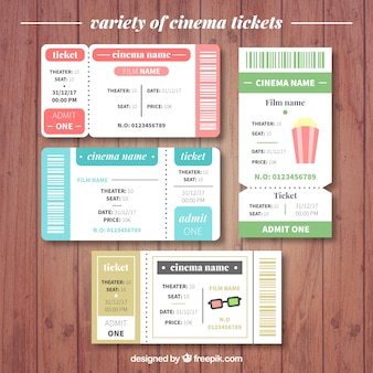 Pack of four realistic cinema tickets