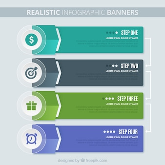 Pack of four realistic infographic options