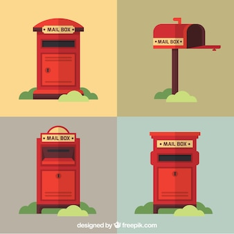 Pack of four red mailboxes in vintage style
