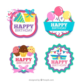 Pack of four retro birthday stickers
