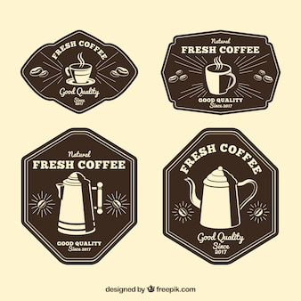 Pack of four retro coffee stickers