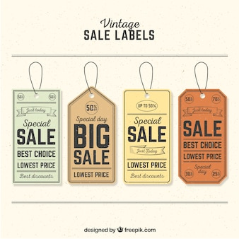 Pack of four retro sale tags
