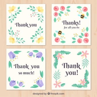 Pack of four retro thank you cards