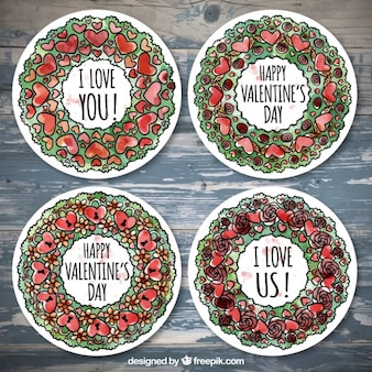Pack of four round floral wreaths for valentine's day