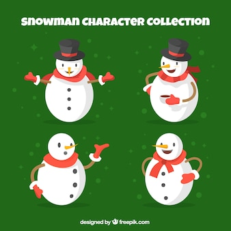 Pack of four snowmen with scarf and hats