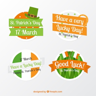 Pack of four st patrick's day badges with orange details