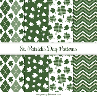 Pack of four st patrick's day patterns in green tones
