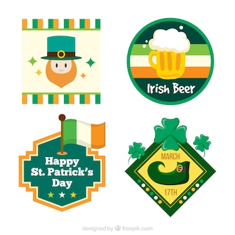 Pack of four st patrick stickers in flat design