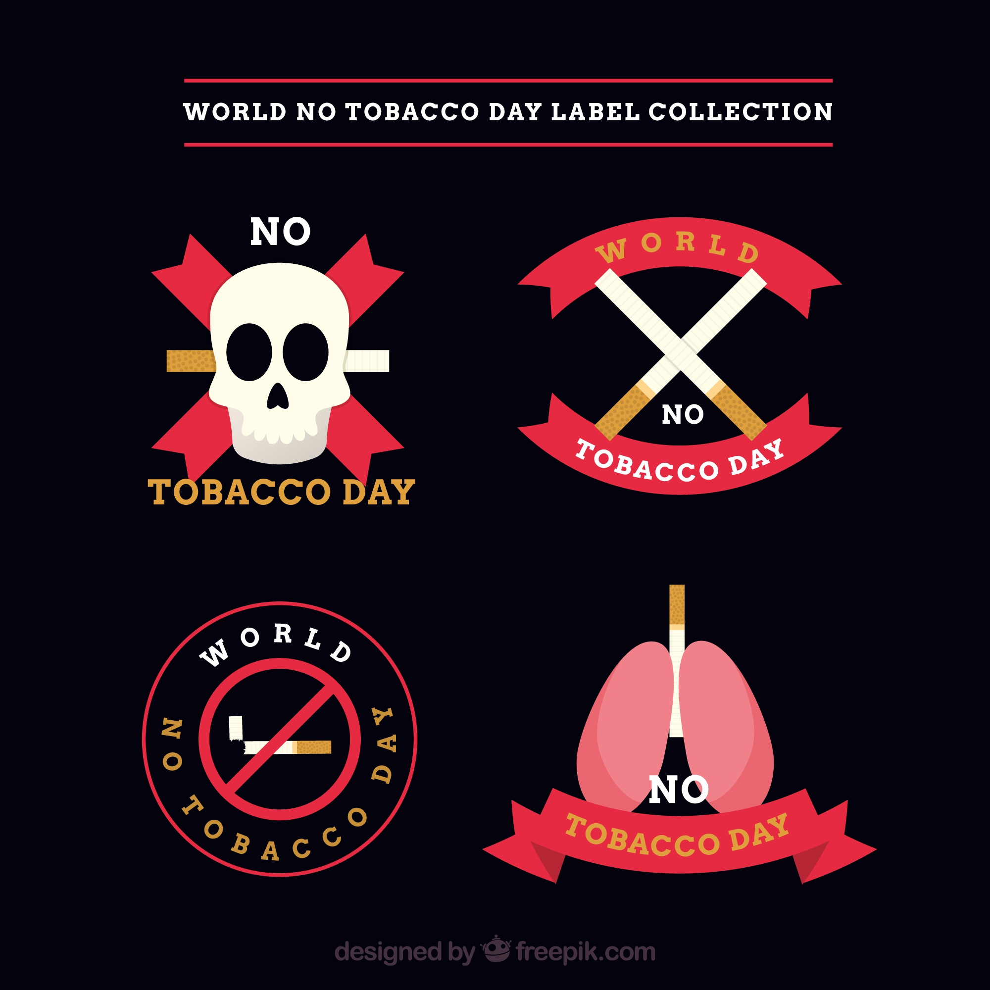 Pack of four stickers in flat design of anti-smoking