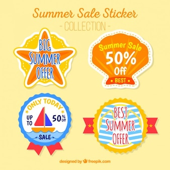 Pack of four summer discount stickers