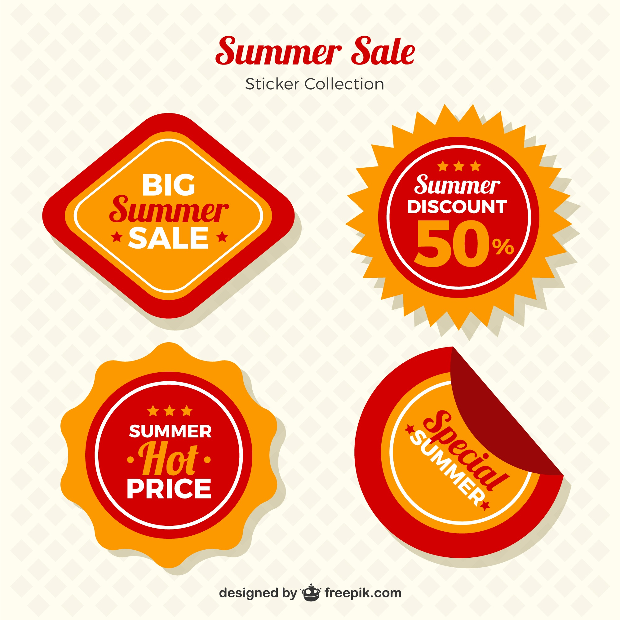 Pack of four summer special offer labels