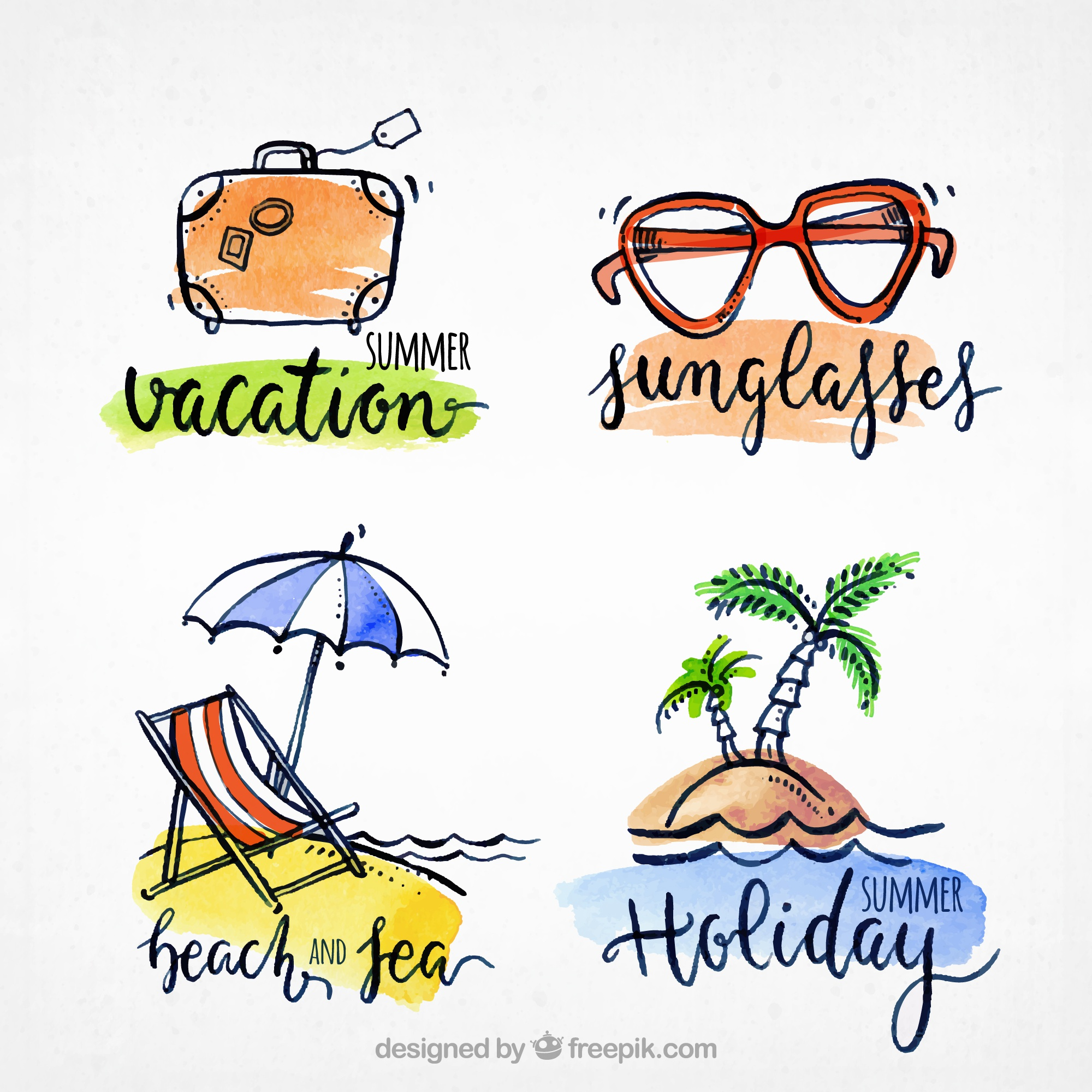 Pack of four summer stickers in watercolor style