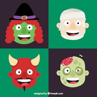 Pack of four terrifying halloween characters