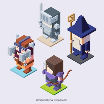 Pack of four video game characters in isometric design