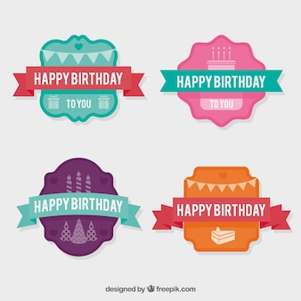 Pack of four vintage birthday stickers