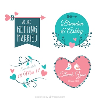 Pack of four vintage bridal shower stickers
