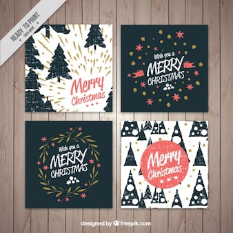 Pack of four vintage merry christmas cards