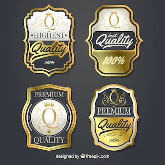 Pack of four vintage premium labels