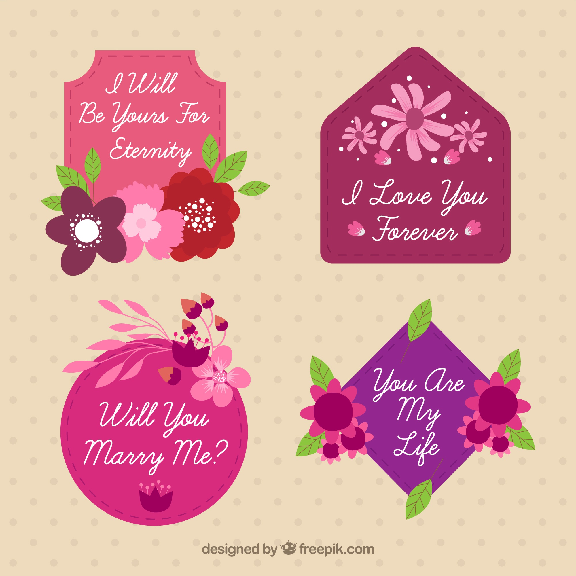 Pack of four vintage romantic stickers