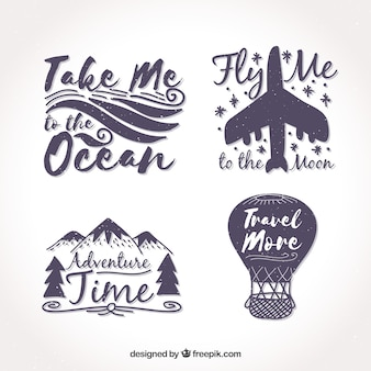 Pack of four vintage travel stickers