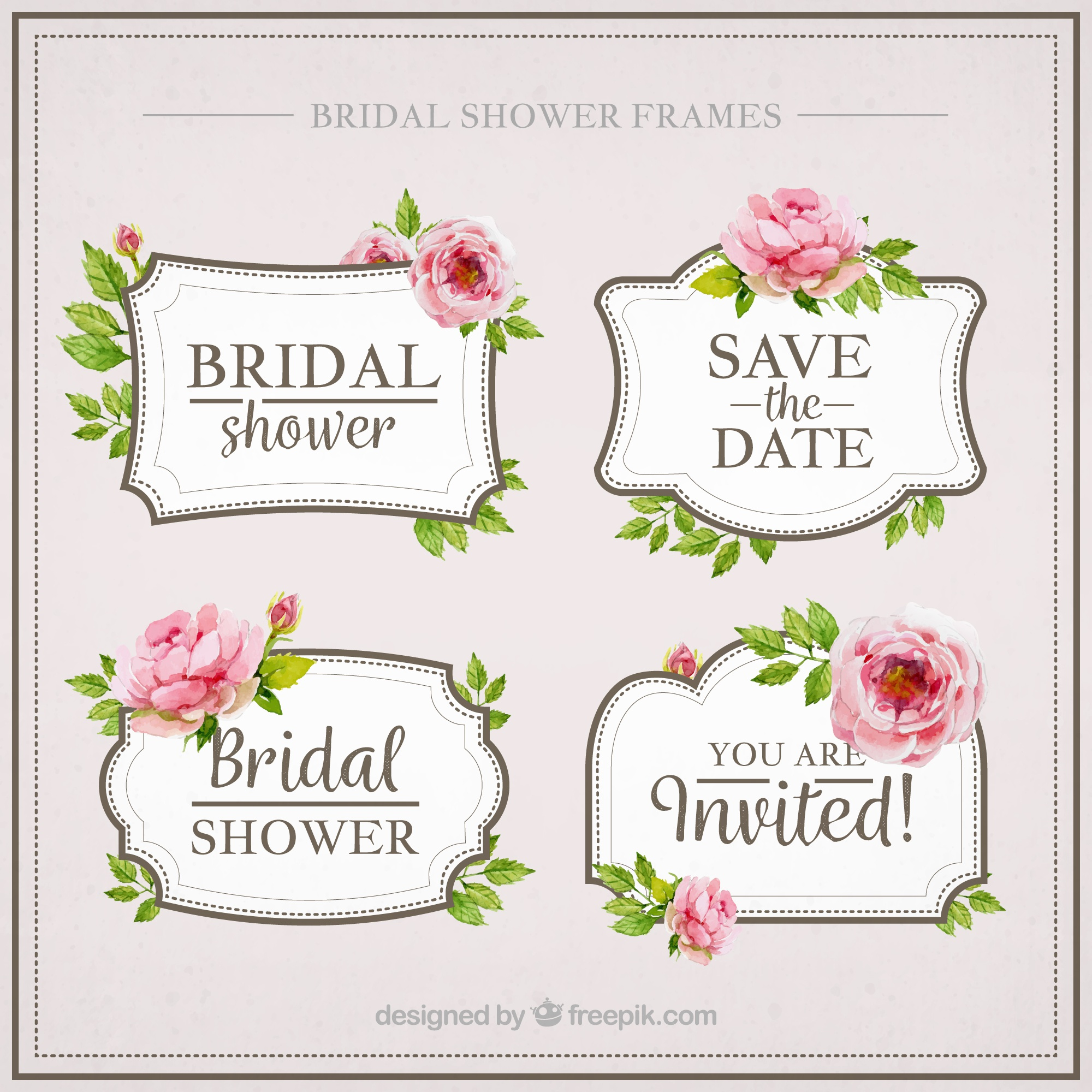 Pack of four watercolor bridal shower with flowers