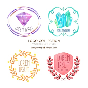 Pack of four watercolor logos
