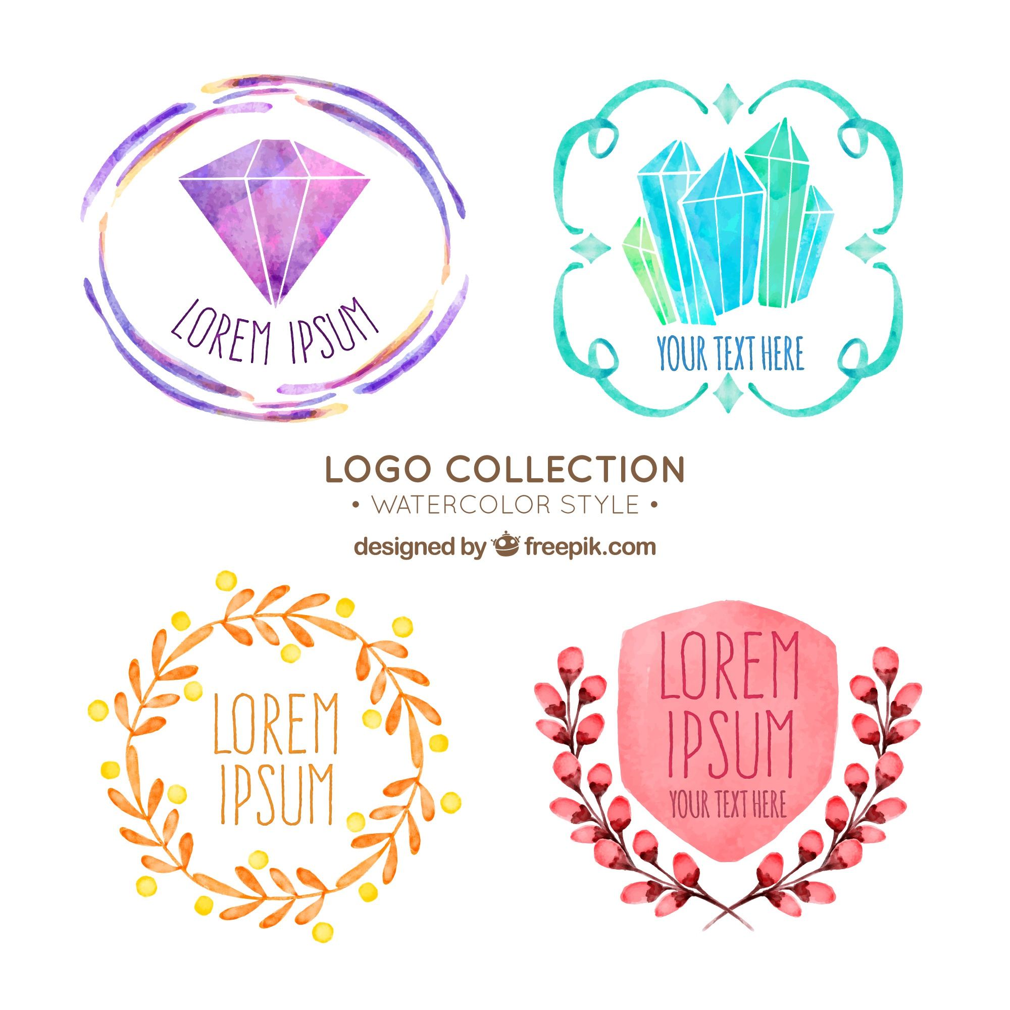 Pack of four watercolor logos