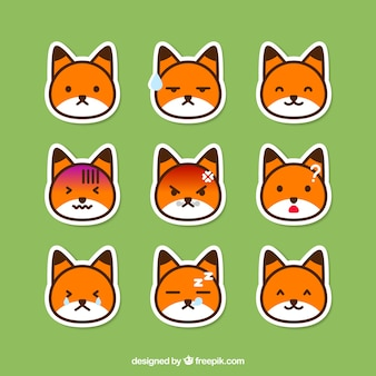 Pack of fox emoticon stickers