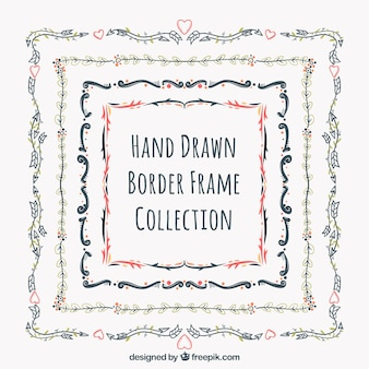 Pack of frames with hand drawn decorative borders