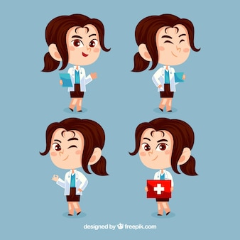 Pack of fun female doctors