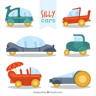 Pack of funny cars in flat design
