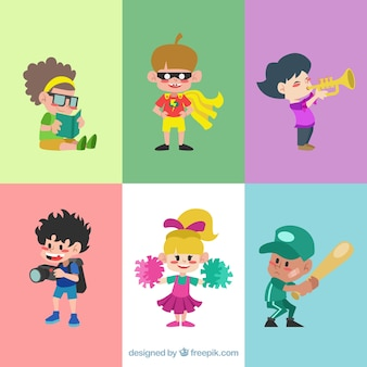 Pack of funny children in flat design