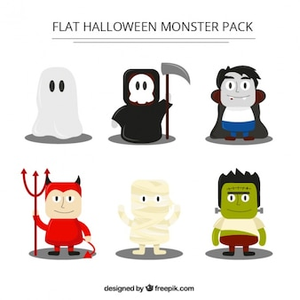 Pack of funny monsters with costumes