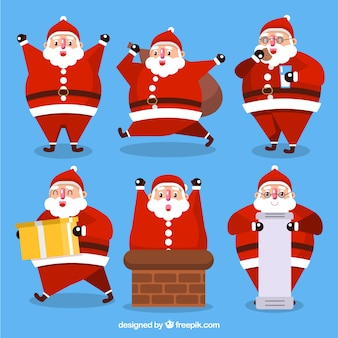Pack of funny santa claus