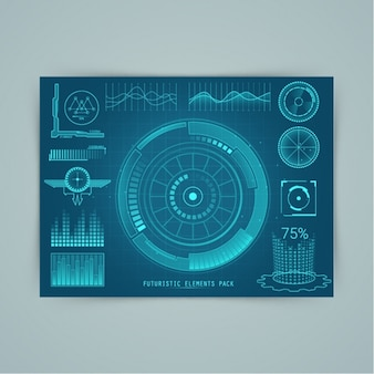 Pack of futuristic elements in blue tones
