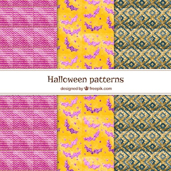Pack of geometric halloween watercolor patterns