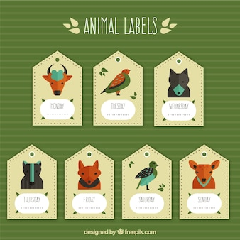 Pack of geometric tags with wild animals