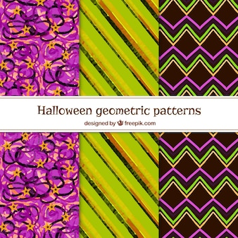 Pack of geometric watercolor patterns
