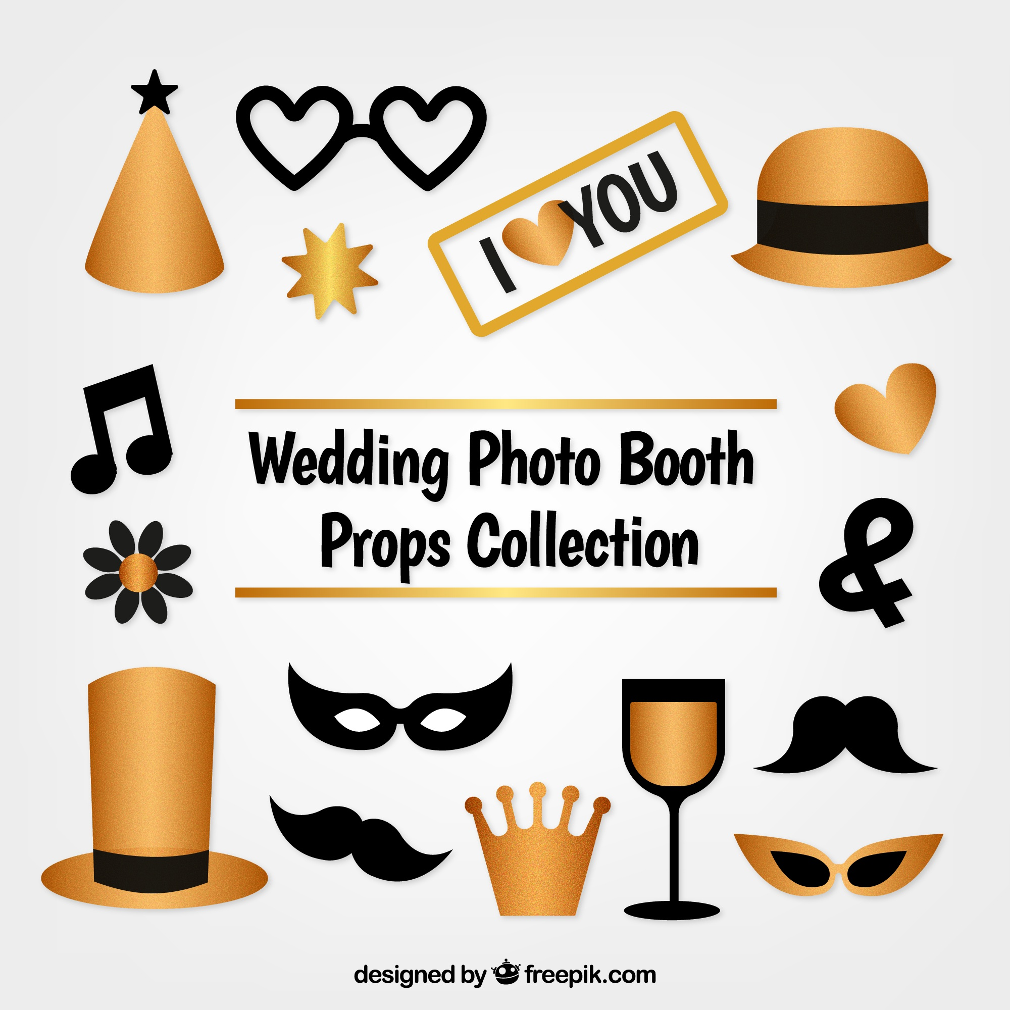 Pack of golden accessories for photo booth