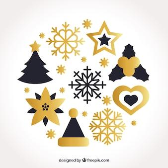 黄金のクリスマスの要素のパック