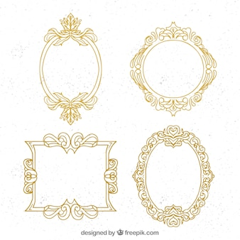 Pack of golden ornamental frames